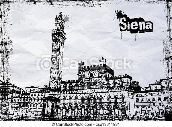 Siena City Hall on Piazza del Campo - csp13811931