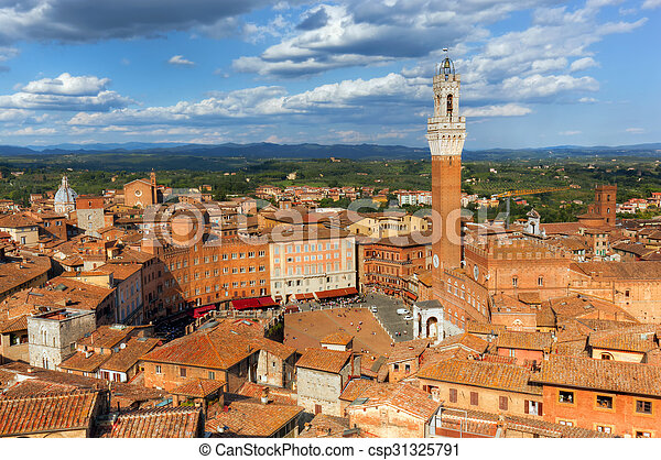 Siena, Italy rooftop city panorama. Mangia Tower, Italian Torre del Mangia - csp31325791