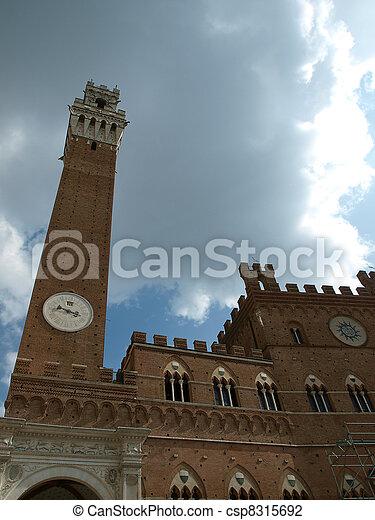 Siena - Palazzo Pubblico and Torre del Mangia. - csp8315692