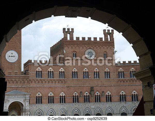Siena - Palazzo Pubblico and Torre del Mangia. - csp9252639