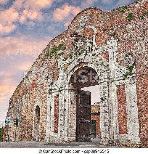 Siena, Tuscany, Italy: city gate Porta Camollia - csp39946545