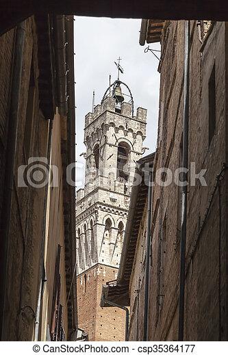 Sienna, Torre del Mangia, Italy - csp35364177
