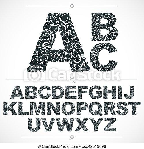 sierletters, alfabet, lettering., pattern., witte , flora, hand