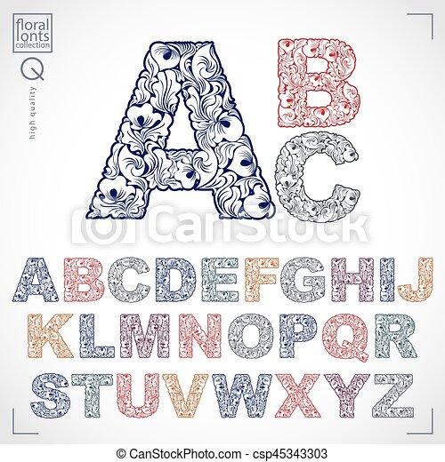 sierletters, typescript, alfabet, hoofdstad, pattern., flora, hand