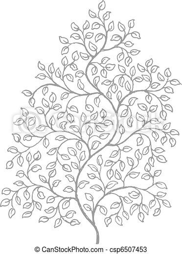 sierlijk, elegant, krullend, wijngaarden, tekening - csp6507453
