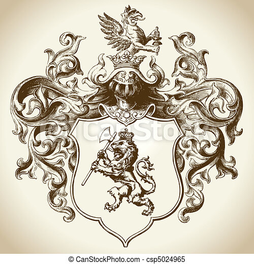 sierlijk, heraldisch, embleem - csp5024965