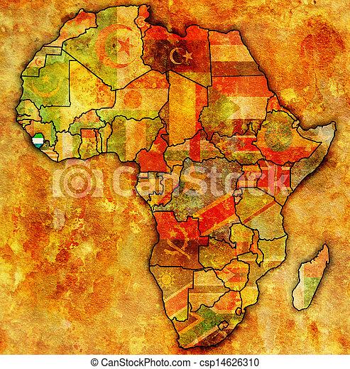 sierra, kaart, daadwerkelijk, leone, afrika - csp14626310