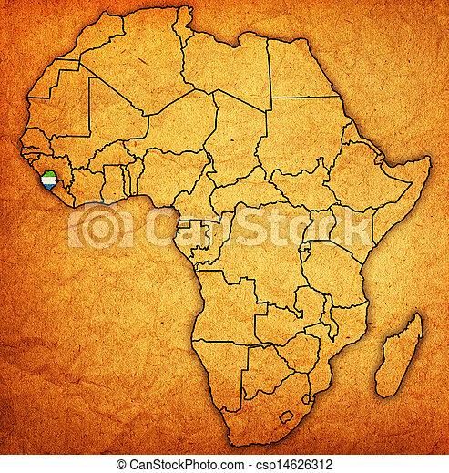 sierra, kaart, daadwerkelijk, leone, afrika - csp14626312