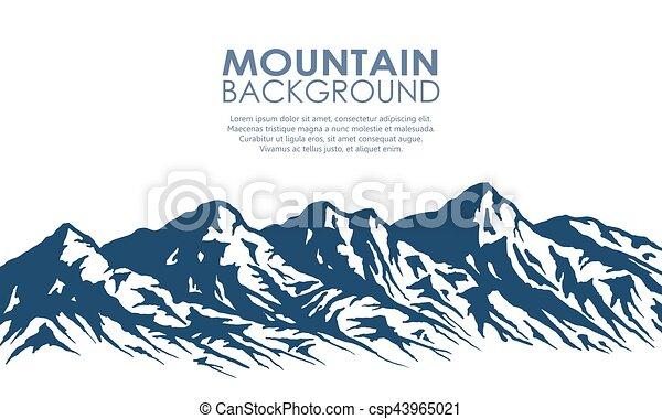 Silueta de montaña aislada en blanco. - csp43965021