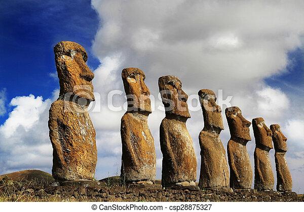 siete, akivi, vista, moai, ahu - csp28875327