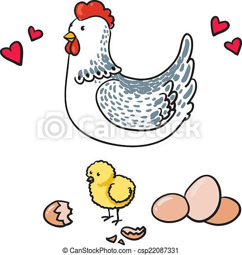 Hen y sus siete huevos en un fondo blanco - csp22087331