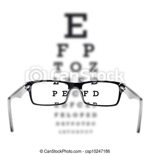 Sight test seen through eye glasses - csp10247186