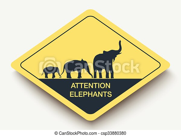 sign attention elephants and shadow. - csp33880380