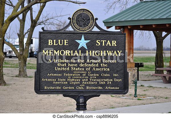Sign Blue Star Memorial Highway - csp8896205