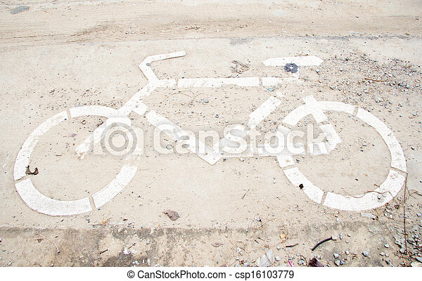 Sign for bicycle on the road - csp16103779