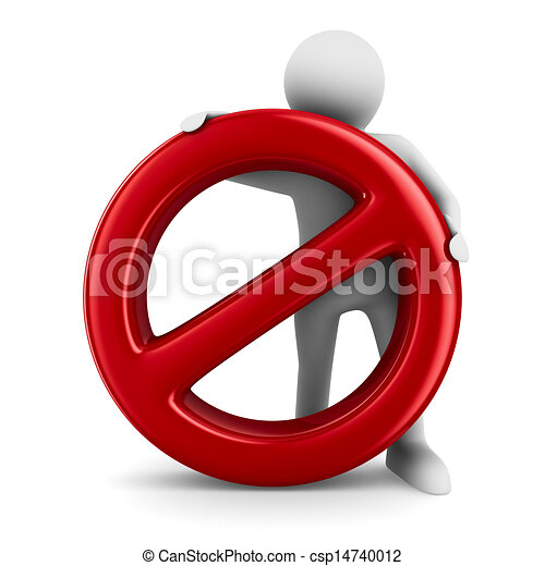 Sign forbidden on white background. Isolated 3D image - csp14740012