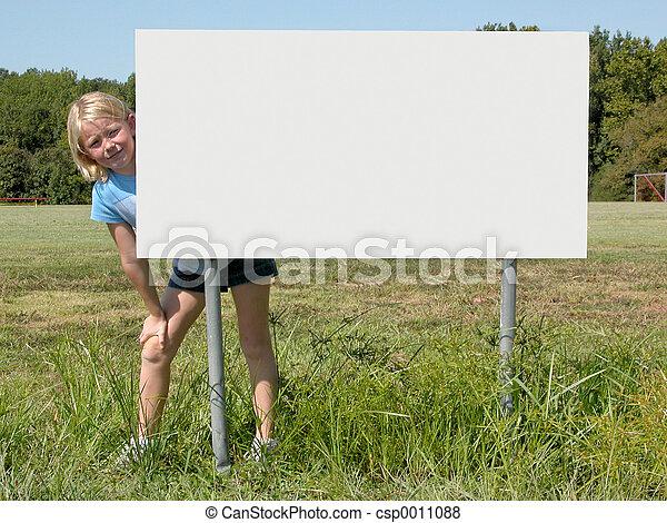 Sign Girl - csp0011088