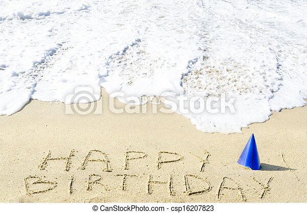 Sign Happy Birthday On The Sandy Beach