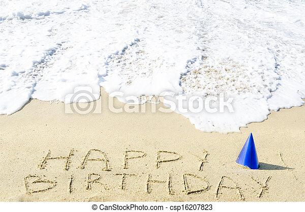 Sign Happy Birthday On The Sandy Beach