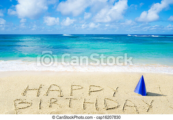 "Sign ""Happy Birthday"" on the sandy beach - csp16207830"