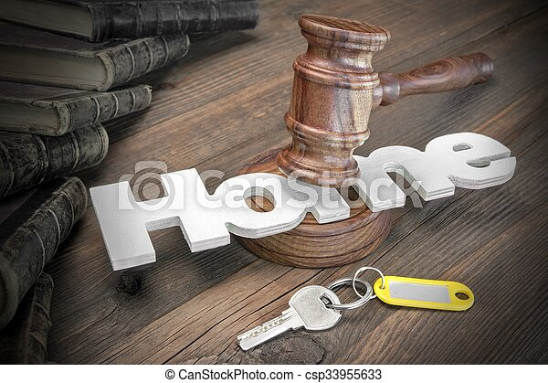Sign Home, Key, Judges Gavel And Book On Wood Table - csp33955633