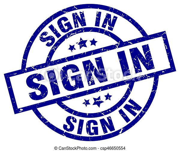 sign in blue round grunge stamp - csp46650554