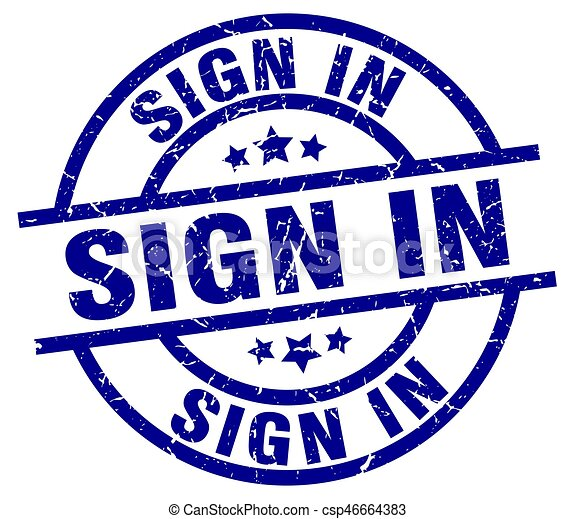 sign in blue round grunge stamp - csp46664383