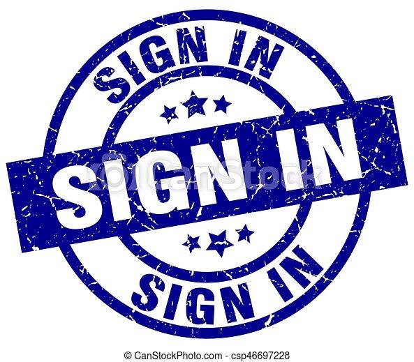 sign in blue round grunge stamp - csp46697228
