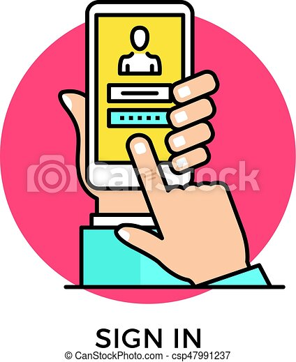 Sign in icon  Hand holding smartphone with login page and login and  password registration form, finger touching screen  Modern flat design thin  line