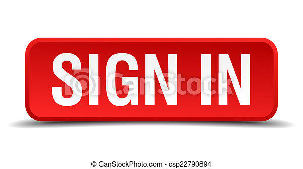 Sign in red 3d square button isolated on white - csp22790894