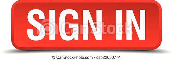 Sign in red 3d square button isolated on white - csp22650774