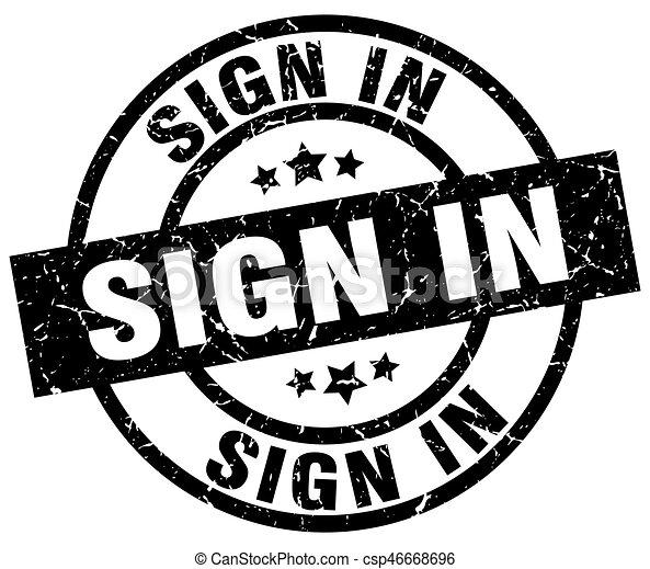 sign in round grunge black stamp - csp46668696