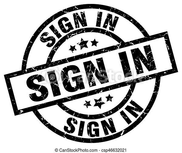 sign in round grunge black stamp - csp46632021