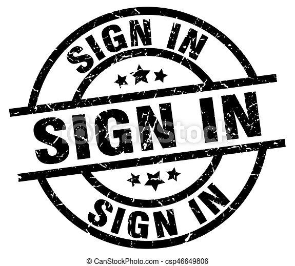 sign in round grunge black stamp - csp46649806