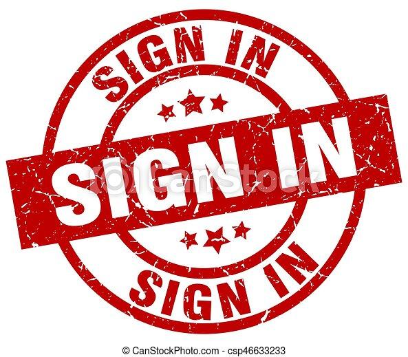 sign in round red grunge stamp - csp46633233