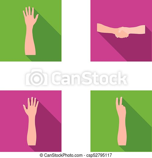 Sign Language Flat Icons In Set Collection For Designemotional Part