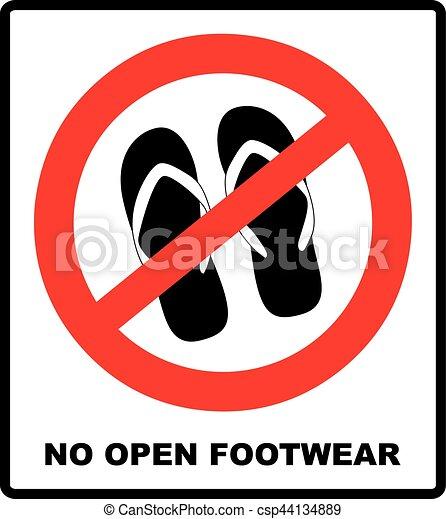 Sign No Sandals No Slipper Red Prohibition Plane Icon On