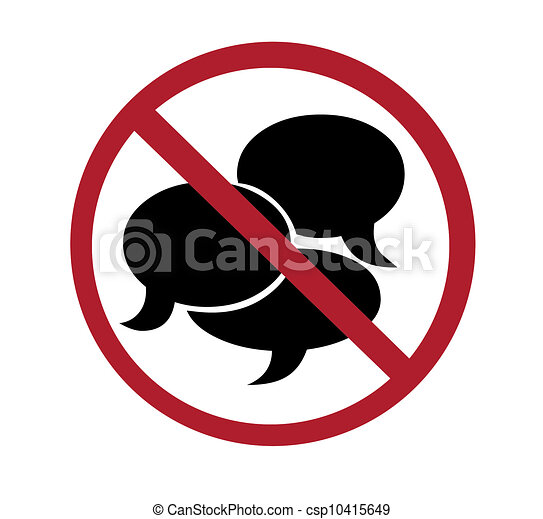 sign no talking rh canstockphoto com no talking in class clipart No Talking Sign Printable
