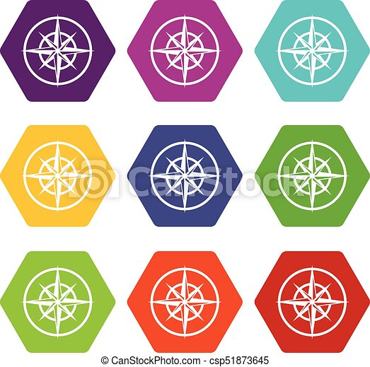 Sign Of Compass To Determine Cardinal Directions Icon Set Eps
