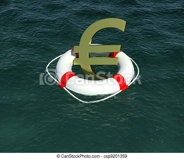 Sign of European currency in rescue disk floats on water. 3d rendering - csp9201359
