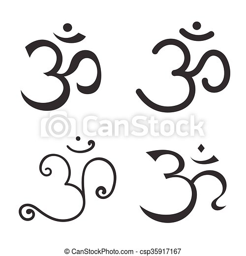 Sign Om Hand Drawn Symbol Of Buddhism And Hinduism Religions Sign
