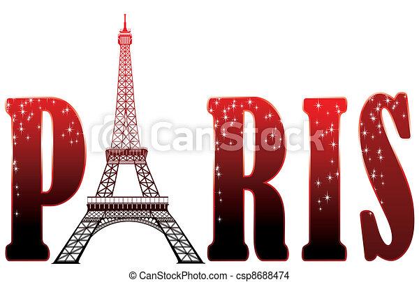 sign Paris with eiffel tower - csp8688474
