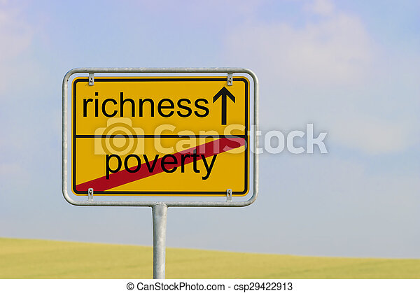 sign poverty richness - csp29422913
