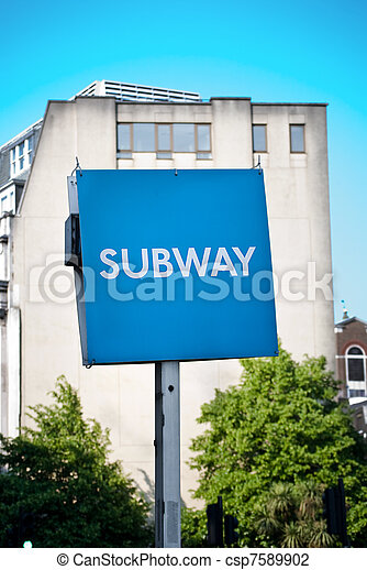 Sign showing subway in an urban setting - csp7589902