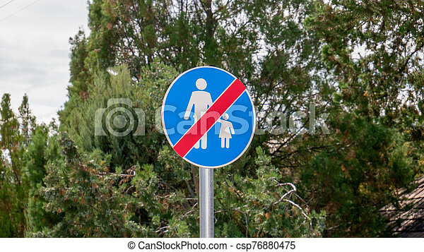 Sign the end of the pedestrian zone - csp76880475