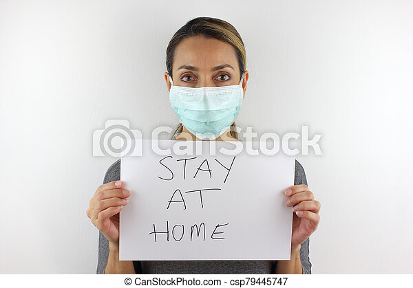 Sign to stay at home - csp79445747