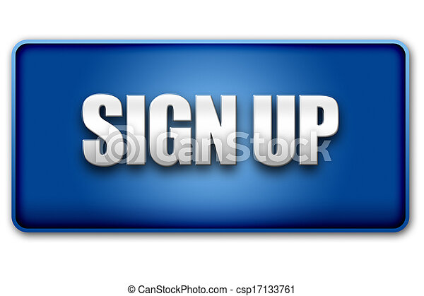 Sign Up 3D Blue Button on White Background - csp17133761