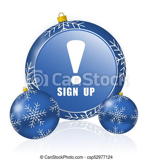 Sign up blue christmas balls icon - csp52977124