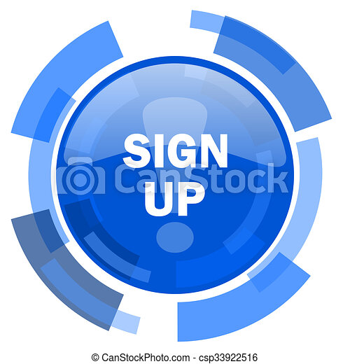 sign up blue glossy circle modern web icon - csp33922516