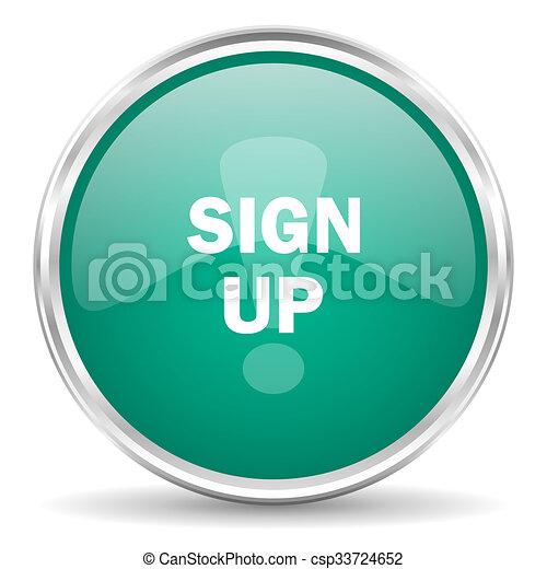 sign up blue glossy circle web icon - csp33724652